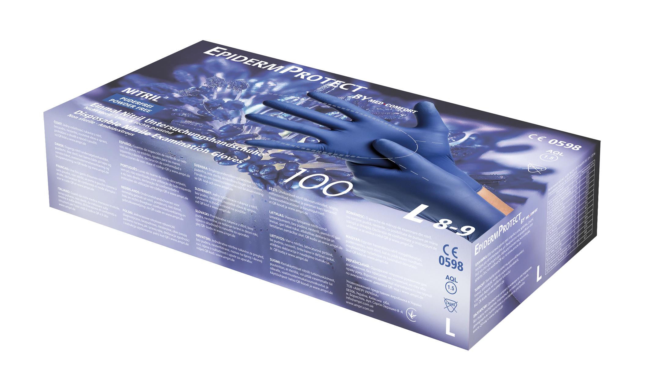 Nitril-Einmalhandschuhe Epiderm Protect Metal blue